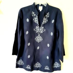 JM Collection Embroidered Blue Linen Tunic